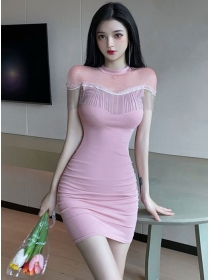 Lovely Sexy 2 Colors Gauze Tassels Skinny Dress