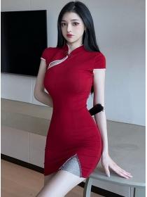 Retro Wholesale 2 Colors Rhinestones Slim Cheongsam Dress