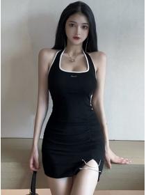 Wholesale Summer 2 Colors Cotton Backless Halter Dress