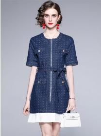 Europe Stylish Zipper Open Tie Waist Fishtail Denim Dress