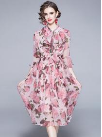 Pretty Women Elastic Waist Tie Collar Flowers Long Dress