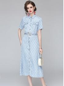 Brand Fashion Belt Waist Letters Denim Shirt Long Dress