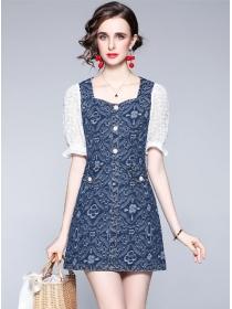 Summer Fashion Square Collar Denim Lace Sleeve Dress