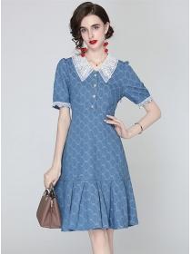 Grace Women Lace Doll Collar Fishtail Denim A-line Dress