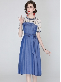Wholesale Double-breasted Flowers Splicing Denim Dress
