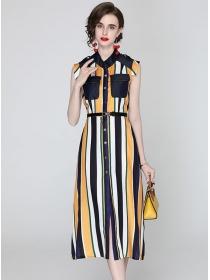 Classic Single-breasted Denim Splicing Stripes Long Dress