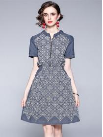 Quality Fashion Flowers Embroidery Elastic Waist Denim Dress