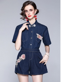 Wholesale Europe Flowers Embroidery Denim Short Suits
