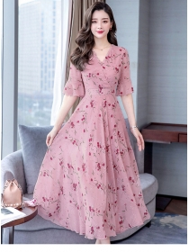 Fashion Korea V-neck Flare Sleeve Flowers Chiffon Dress
