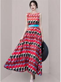 Wholesale Stylish Belt Waist Color Block Tank Maxi Dress