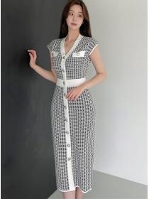 Wholesale Korea Single-breasted Houndstooth Slim Knit Dress