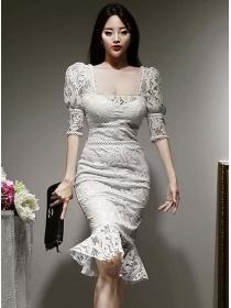 Retro OL Square Collar High Waist Fishtail Lace Skinny Dress
