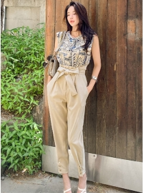 Summer Hot Letters Loosen Blouse with Casual Long Pants
