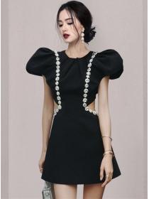 Sexy Lady Rhinestones Waist Hollow Out Puff Sleeve Dress