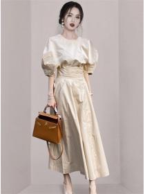 Wholesale Fashion High Waist Puff Sleeve Two Pieces Dress