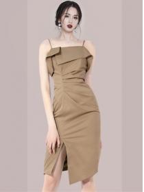 Retro Summer Pleated Waist Straps Bodycon Dress