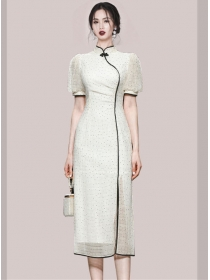 Retro Women Fashion Dots Split Slim Cheongsam Dress