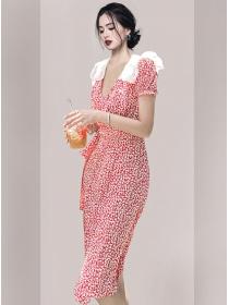 Pretty Women Tie Waist Doll Collar Flowers V-neck Dress