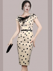 Retro OL Gauze Bowknot Round Neck Slim Dots Dress