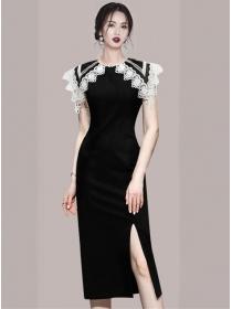 Fashion Women Lace Doll Collar Wraps Slim Tank Dress