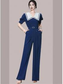 Brand Fashion High Waist Dots Wraps Collar Long Jumpsuit
