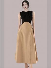Quality Wholesale Color Block High Waist Tank Long Dress