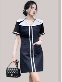 Navy Fashion 2 Colors Doll Collar Slim Short Sleeve Dress