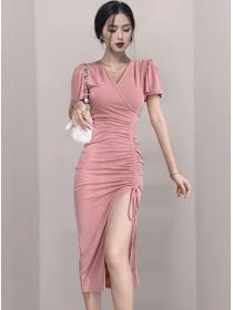 Hot Selling Draw-string Split Pleated Skinny Long Dress