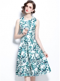 Summer Fashion Round Neck Flowers Tank A-line Dress