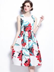 Wholesale Europe Flowers Flouncing A-line Long Dress