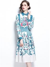 Pretty Wholesale Shirt Collar Long Sleeve A-line Dress