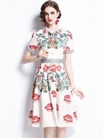 Wholesale Summer 2 Colors Flowers Short Sleeve Shirt Dress