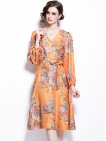Fashion Women V-neck Tie Waist Puff Sleeve Flower Dress