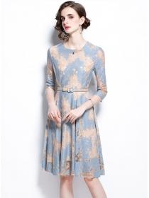 Wholesale Fashion Lace Flowers Flouncing A-line Dress