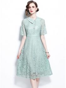 Grace Women 2 Colors Doll Collar Lace A-line Dress