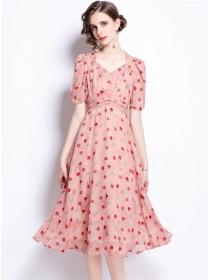 Pretty Fashion High Waist V-neck Embroidery Long Dress
