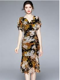 Fashion Women High Waist V-neck Flowers Gauze Slim Dress