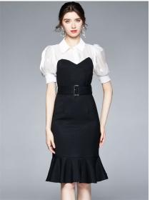Grace Women Color Block Puff Sleeve Bodycon Fishtail Dress