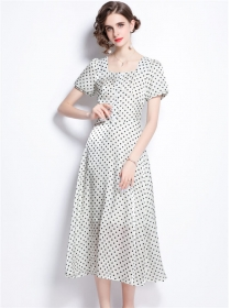 Charming Grace Square Collar Dots Puff Sleeve Long Dress
