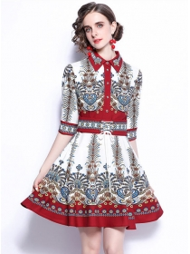 Europe Stylish Tie Waist Mid-sleeve Flowers Shirt Dress