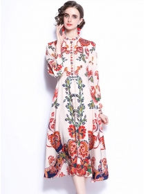 Charming Retro High Waist Flowers Long Sleeve Dress