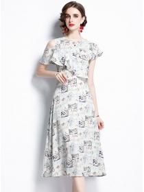 Wholesale Fashion Flouncing Off Shoulder Printings Dress