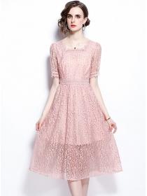 Simple Fashion Square Collar High Waist Lace Dress