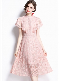 Grace Women Flouncing Shoulder Lace A-line Dress