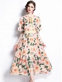 Pretty Women High Waist Tie Collar Flowers Maxi Dress
