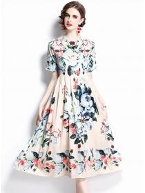Wholesale Fashion High Waist Flowers Long Dress