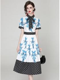 Retro Charming Tie Collar High Waist Flowers Dress
