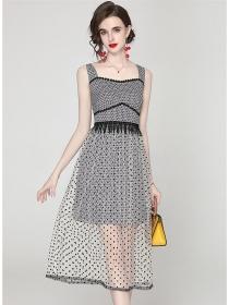 Summer Wholesale Dot Gauze Splicing Straps A-line Dress