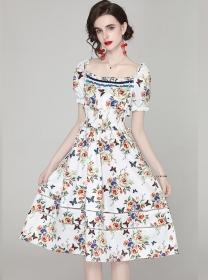 Charming Summer Boat Neck Elastic Waist Flowers Dress