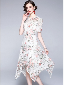 Elegant Fashion Embroidery Flowers Hollow Out A-line Dress
